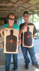 Lauren had never touched a gun prior to our class.  Here you see here with a perfect target, beating her husband's score (a seasoned Coast Guard Maritime Law Enforcement Officer) by 1 shot!  Congratulations Lauren and welcome to the elite group of students known as H's Heroes.