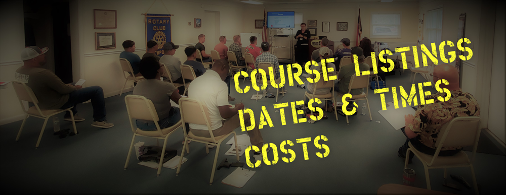 Course Listings, dates, times, costs